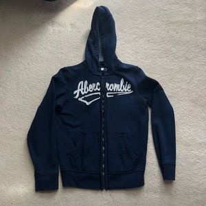 Abercrombie Navy Blue Zip-Up Hoodie - Boy's Sz XL